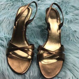 Stuart Weitzman Kitten Heel Bronze Sandals