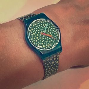 Vintage Green Rocks Swatch Watch