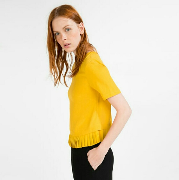 f973e7fe Zara Tops | Sale Golden Yellow Pleated Hem Crop Top | Poshmark
