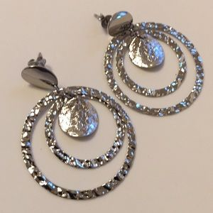 New (never worn) silver fashion hoops