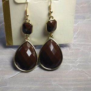 Gorgeous Gold and Brown Faceted Stone Earrings