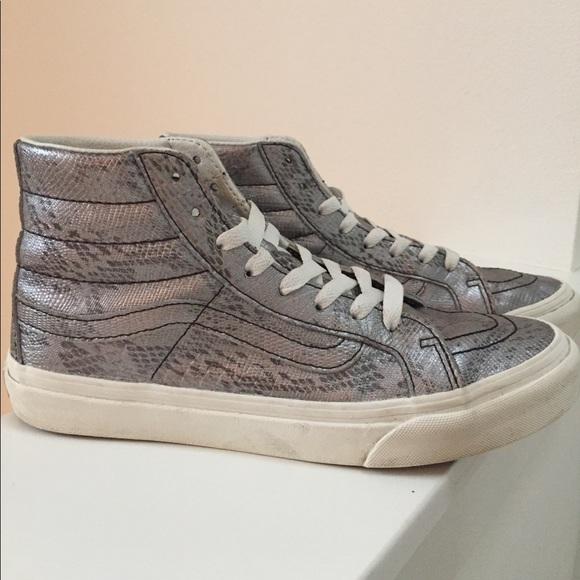 Vans Shoes   W Silver Hi Tops Disco