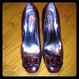 Calvin Klein Lupo oxblood chunky heels