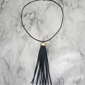 NWOT Gold leather Tassel necklace