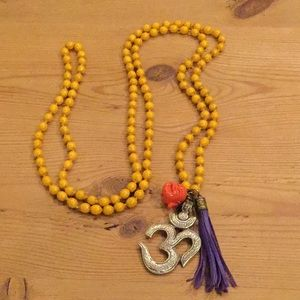 Beaded Buddha ohm sign tassel necklace