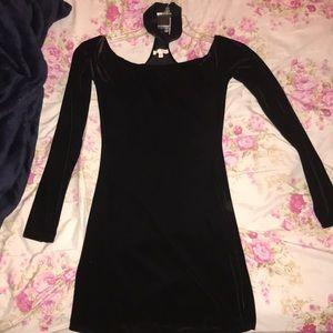 Black velvet dress with attached choker