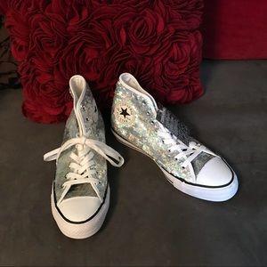 Converse Silver Glitter High Tops