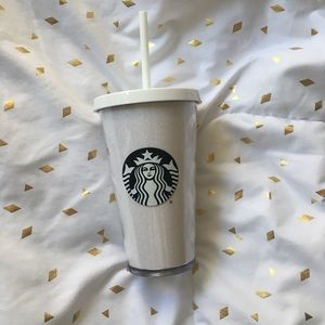 Starbucks Holiday 2017 White Glitter Cold Cup 16oz
