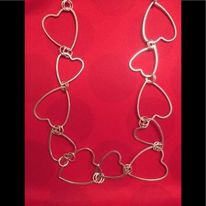 NWT! ❤️Long Heart❤️ Silver Chain Necklace
