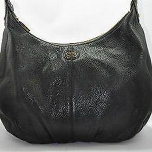 TORY BURCH DAKOTA Black Leather Hobo Purse Bag