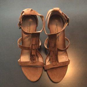 Brown suede fringe heels size 9