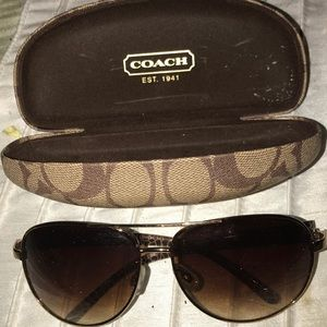 Authentic COAcH brown aviator glasses with case