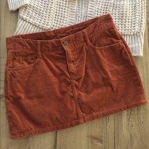 H&M Rust Corduroy Mini Skirt