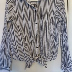 MADEWELL striped button down with tie front