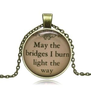 Jewelry - Vintage Classic Quotes Glass/Bronze Necklace