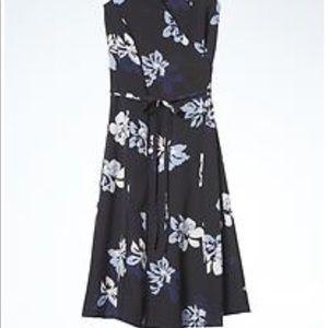 Black/blue floral wrap dress