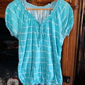 Turquoise Peasant Blouse