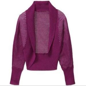 Athleta Cardigan Sweater Sz XL Purple Mesh Cocoon