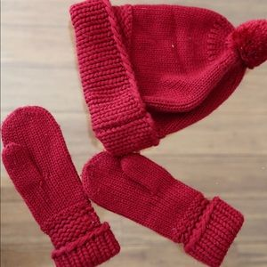 Cozy Red Knit Hat and Mitten set