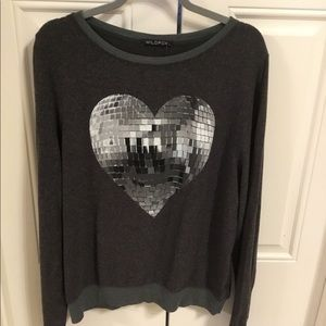 Wildfox NWT Size L Large Disco Heart Sweatshirt