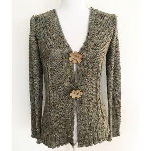 BCBGMAXAZRIA Marled Knit Floral Button Cardigan