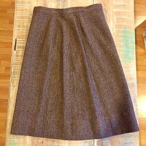Vintage Pendleton Herringbone Wool Skirt brown