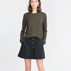 Zara long sleeve olive green top