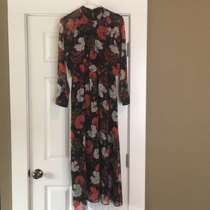Zara long sleeve size small printed maxi dress