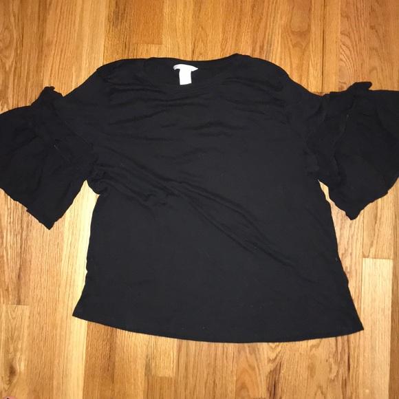f88a70549d9 H&M Tops | Hm Black Ruffle Sleeved Tee Shirt Womens Size L | Poshmark