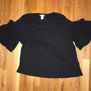 H&M Black ruffle sleeved tee shirt. Women's size L