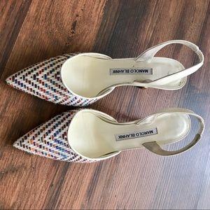 Multicolor Manolo Blahnik Carolyne Slingback Heels