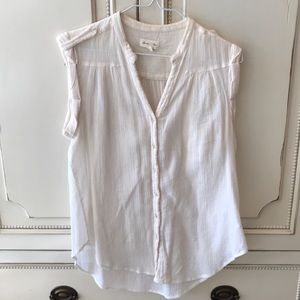 White Short Sleeve Cotton Top