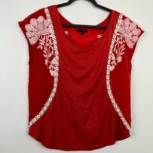 One September Anthro Embroidered Blouse