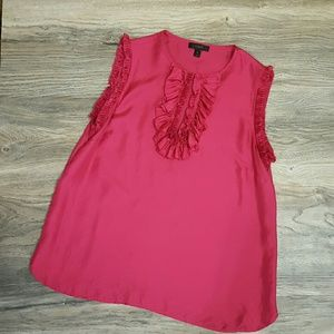 J. CREW Margot top Silk Hot ruffle pink size 10