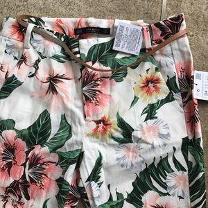 Zara floral twill pants