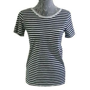 J. CREW striped luxe trim pocket t-shirt tee