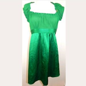 Betsey Johnson Green Silk Tie Back Dress