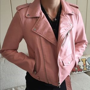 Zara Pink Faux Leather Jacket - Sz XS