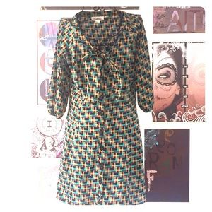 Forever 21 EUC dress-green, blk, brown, teal, tan