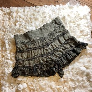 Free People Embroidered Ruffle Shorts