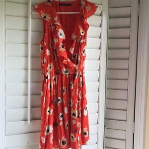 Zara floral wrap dress
