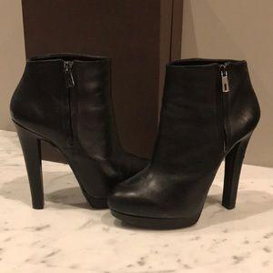 Zara Black Leather heel w/ platform Booties- sz 40