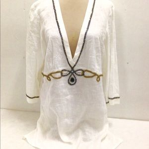 Gorgeous Chico's Beaded Linen Tunic Blouse