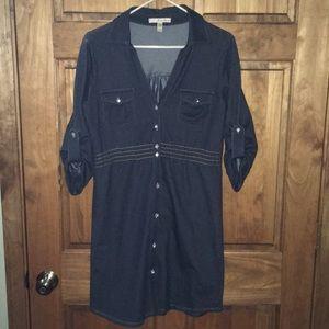 American Rag!! Denim dark jean Button Up dress!