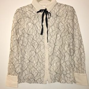 H&M button up lace blouse