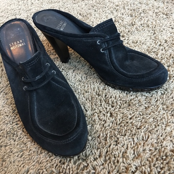 Stuart Weitzman Shoes - Stuart Weitzman suede studded platform mules, 8.5