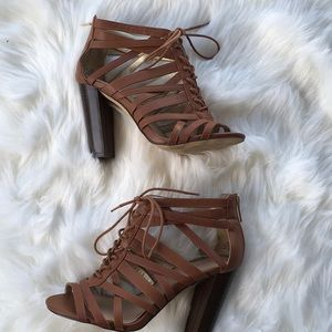 Torrid Brown Strappy Lace up High Heels