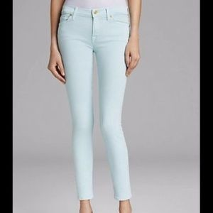 7 for All Mankind 7FAM Mint Green Skinny Jeans 29