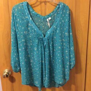 LC Lauren Conrad aqua print blouse Sz L