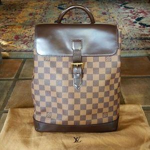 Auth Louis Vuitton Soho Ebene Backpack